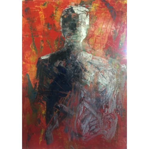 Red Man, oil on paper, 84.1 x 61cm
