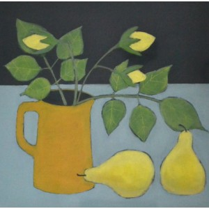 Rosebuds and Pears, oil on card, 28 x 28cm