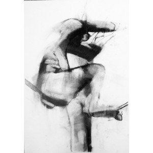 Gravity, charcoal on paper, 70 x 50cm