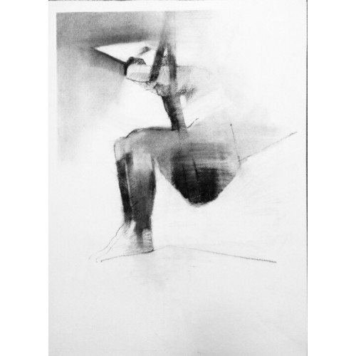 Uplifted, charcoal on paper, 70 x 50cm