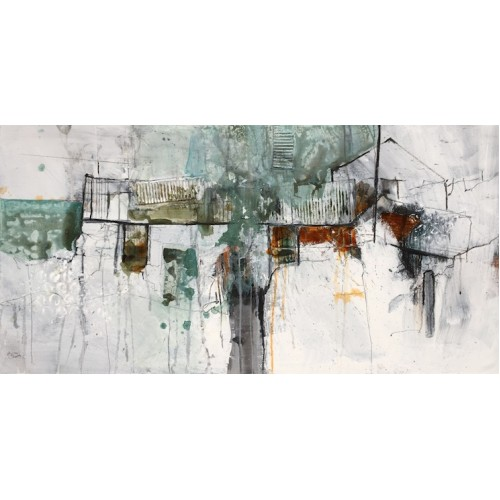 An Tuairín-III, mixed media on board, 50x150cm