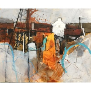 Ty Canol (middle Farmhouse), mixed media on board 40x50