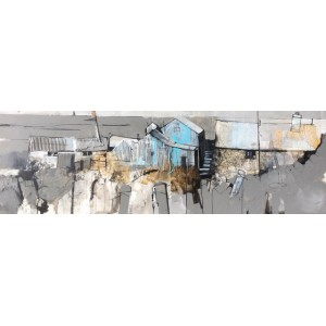 Ynys Dulas, mixed media on panel,  50 x 150cm