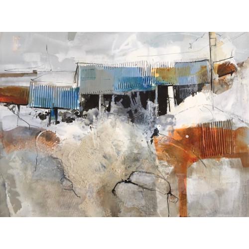 Ysgubor Hên, mixed media on panel, 75x100cm