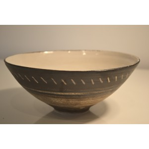 ceramic stoneware bowl, blue striped pattern