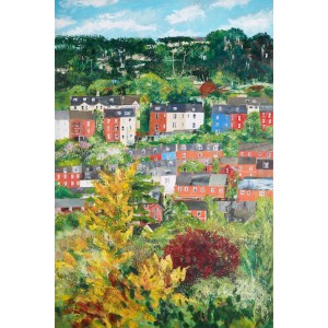 Stroud from Butterrow, mixed media on canvas, 90 x 60cm