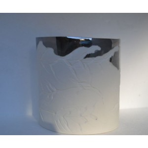 Silver Edged porcelain candle burner, H: 11.5cm