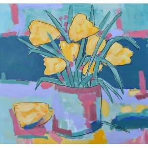 Tulips 4 (281), acrylic on canvas board, 51 x 51cm