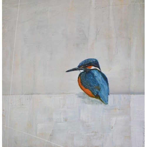 Kingfisher, oil on board, 30x30cm