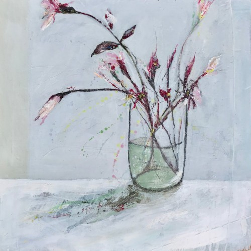 Pink Stems, oil on board, 30 x 30cm