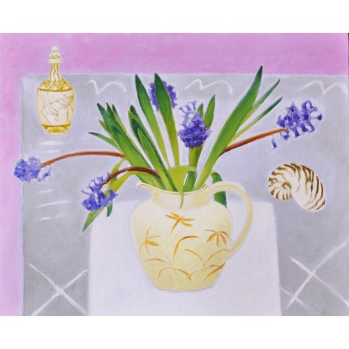 Jug of Hyacinths with Shell, oil on linen, 45.5  56cm