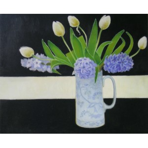 Jug of Tulips and Hyacinths on Black, oil on linen, 46 x 56cm