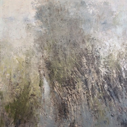 Willows in the Mist, oil and cold wax on wood, 95 x 95cm