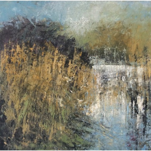 Through the Reeds, oil and cold wax on board, 45 x 45cm