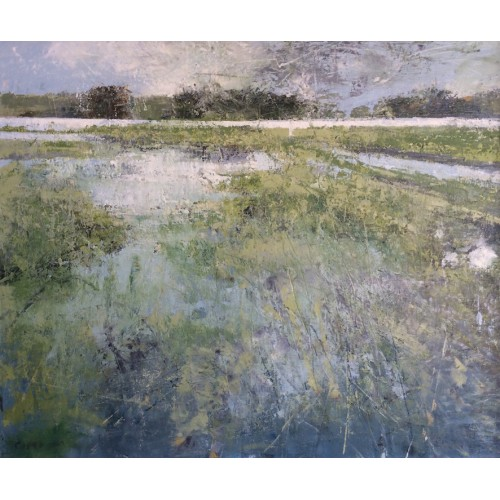 Flooded Field 1, oil and cold wax on canvas, 55 x75cm