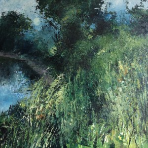 Evening by the River, oil and cold wax on board, 65 x 65cm