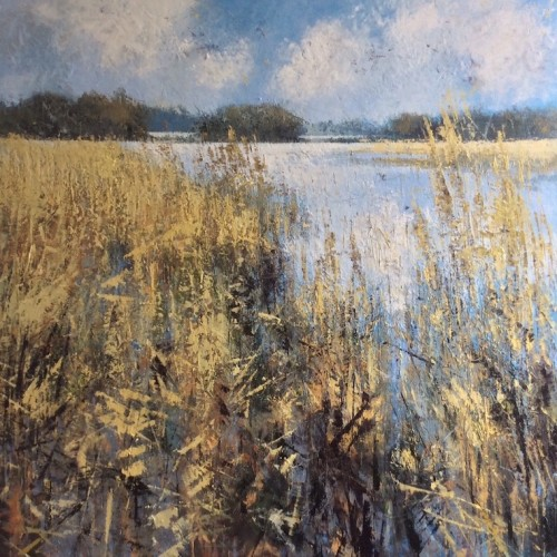 Winter Reeds, oil and cold wax on canvas,  95 x 95cm