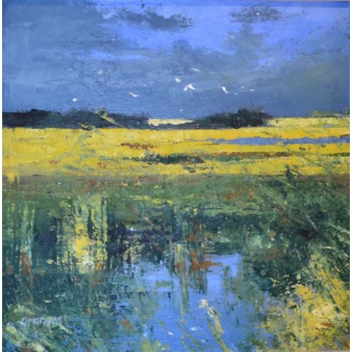 October Marshland,  oil and cold wax on board, 44 x 44cm