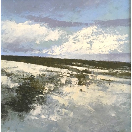 Snow on the Moor 1, oil and cold wax on board, 30 x 30cm