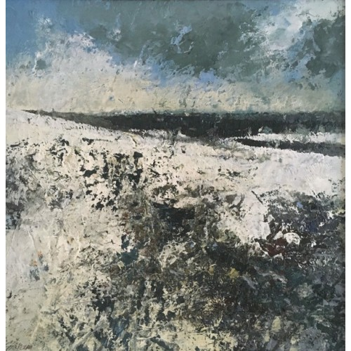 Snow on the Moor 2, oil and cold wax on board, 30 x 30cm