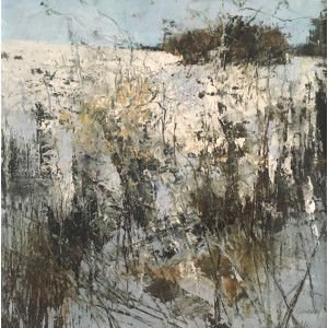 Winter Weeds, oil and cold wax on board,  30 x 30cm