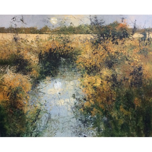 September Fields with Stream, oil and cold wax  on canvas, 90 x 110cm