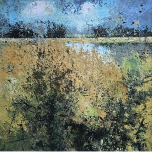 Late Summer Reed Bed,  oil and cold wax on board , 65 x 65cm