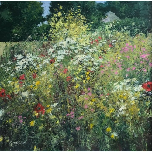 July Field Margin, oil and cold wax on canvas, 85 x 85cm