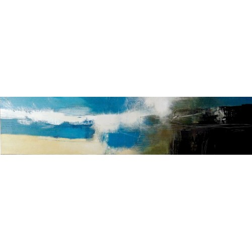 Atlantic Wave, acrylic on panel, 27.5 x 118cm