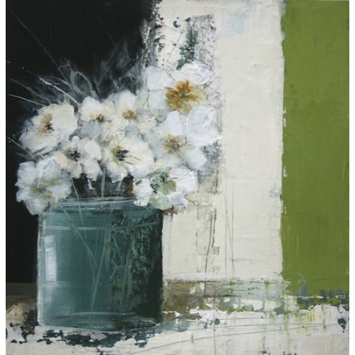 Still Life with Pot of White Flowers