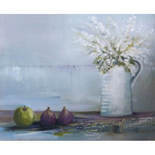 Still life with Figs and Apple, oil on canvas, 46x56cm