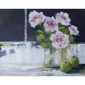 Pink Roses, oil on canvas board, 40 x 50cm
