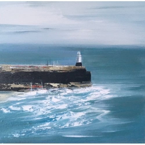 Pier, St Ives, acrylic on panel, 30x30cm