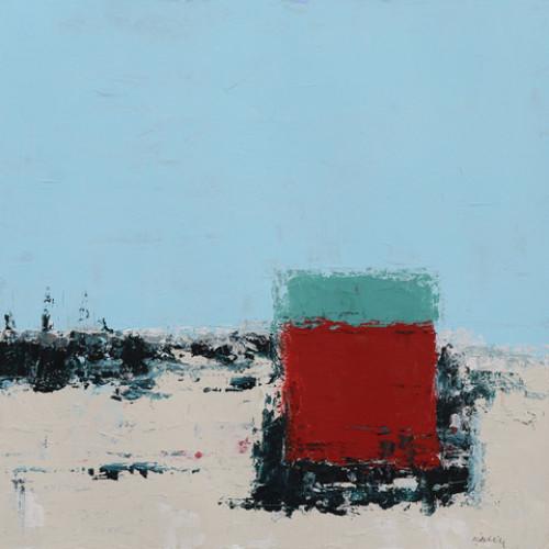 Beach Hut, acrylic on paper, 36 x 36cm