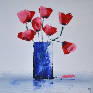 Bristol Blue with Scarlet Poppies, acrylic on board, 20x20cm