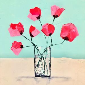 Pretty Pink Roses, acrylic on board, 30 x 30cm