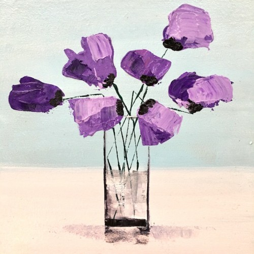 Purple Himalayan Poppies II, acrylic on board,  20 x 20cm