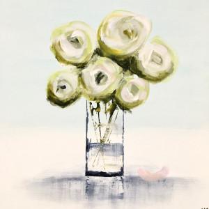 Fresh Roses, acrylic on board, 30 x 30cm
