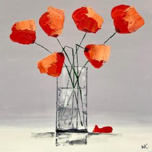 Orange Poppies, acrylic on board, 30 x 30cm