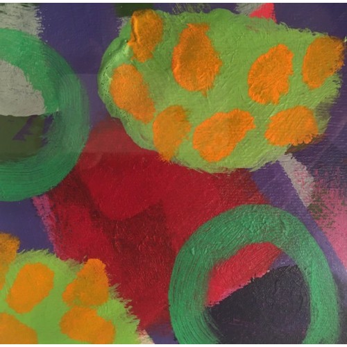 Study for Summertime Garden, acrylic on paper, 15x15cm