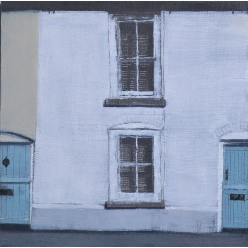Two Blue Doors, Worthing, oil on panel 15x15cm