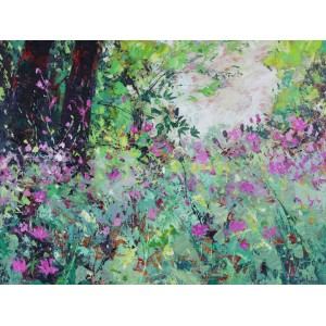 Wild Flowers under the Trees, oil on board, 70 x 90cm