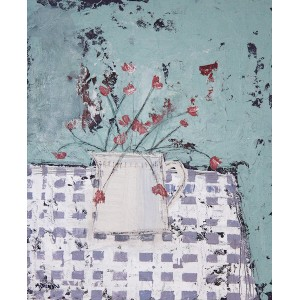 White Jug and Flowers on a Checked Cloth