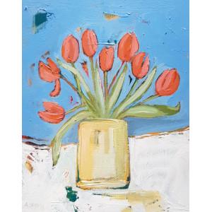 Tulips, acrylic on board, 20 x 26cm