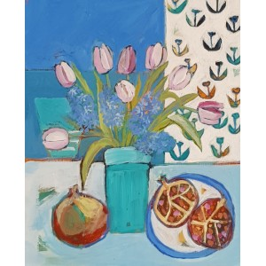 Tulips and hyacinths, acrylic on board, 31x 26cm