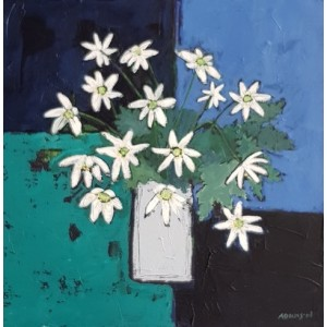 Woodland anemones, acrylic on board, 31 x 31cm